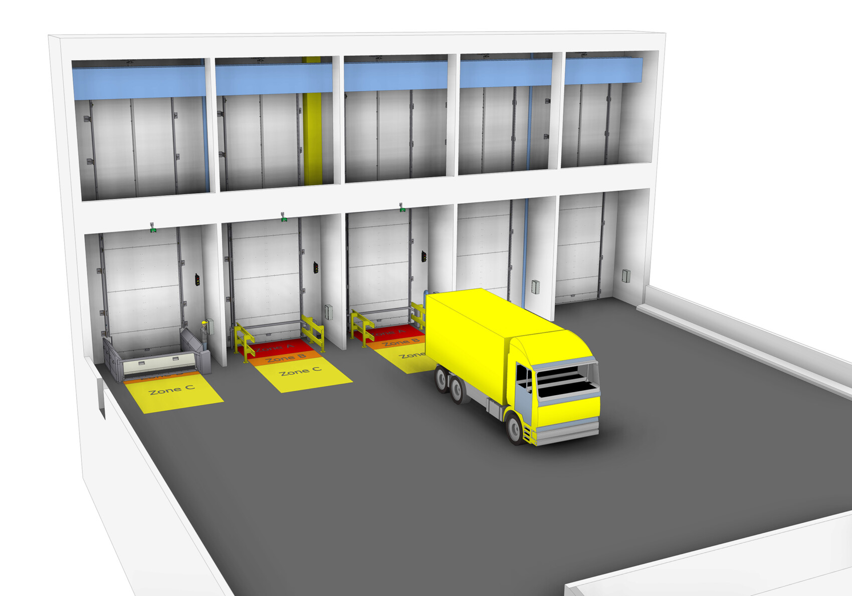 3D-Modell der Bunkertore samt Vorplatz und Lieferfahrzeug vor mittlerem Bunkertor