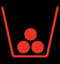 Icon: Behälter, der bis zu einem Drittel mit Abfall gefüllt ist